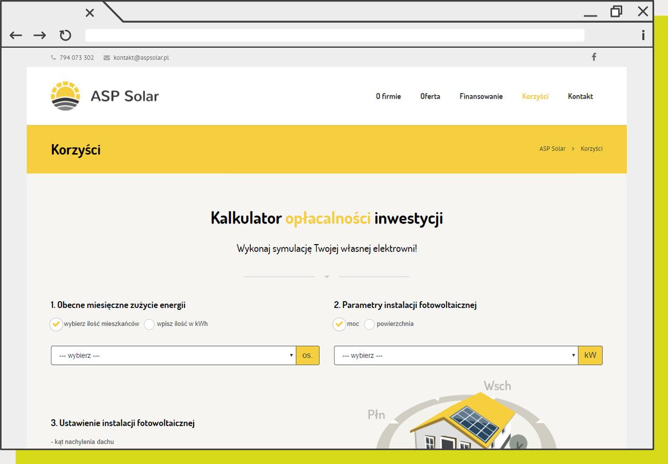 Obrazek przykładowej realizacji strony internetowej dla klienta ASP Solar