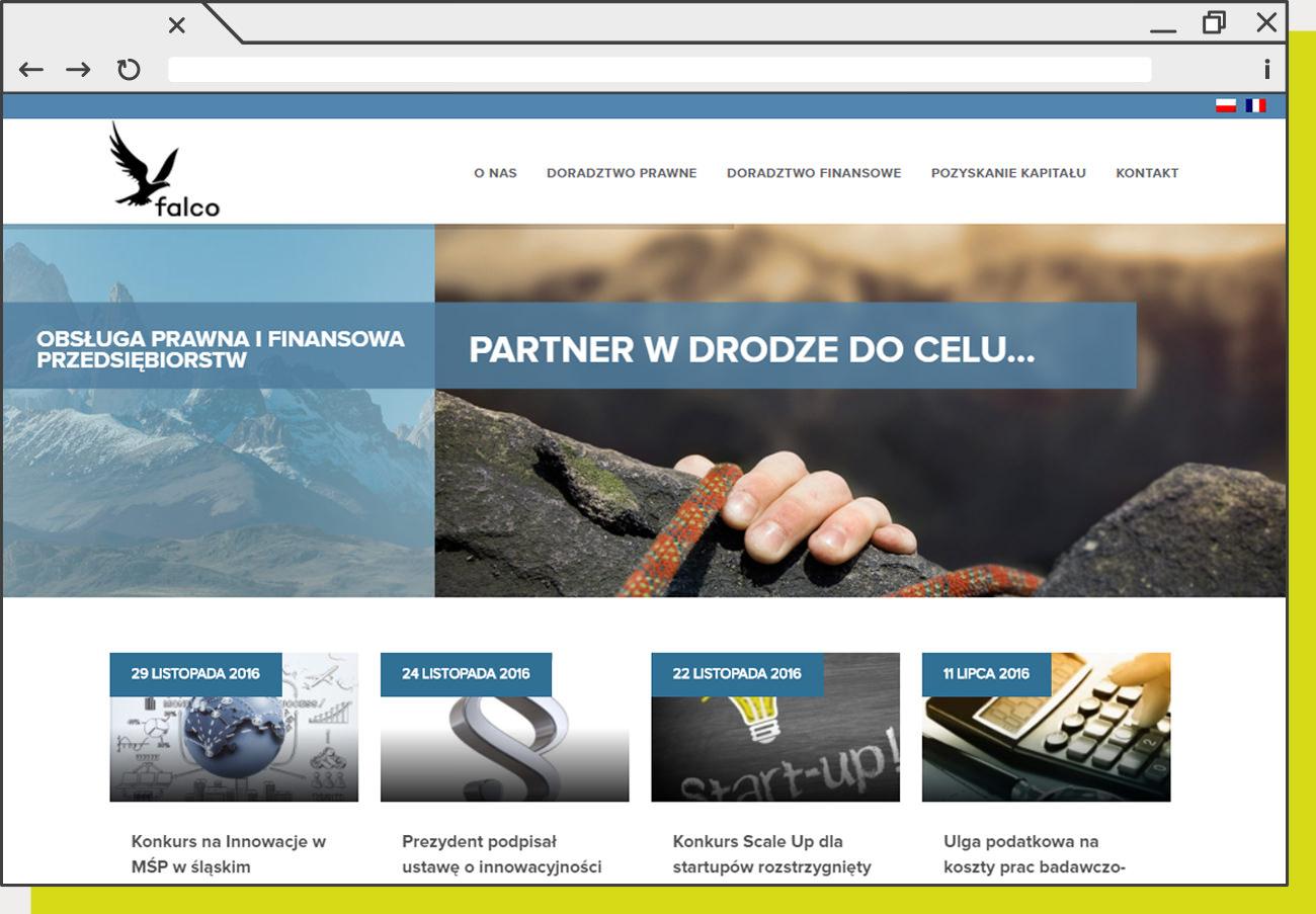 Strona www wykonana dla firmy FalcoAdvisers